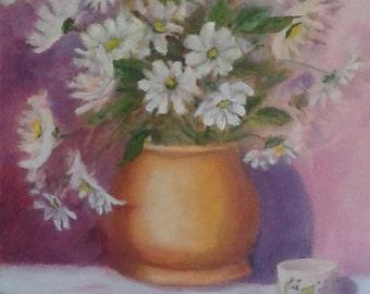 White Daisies in Copper Vase