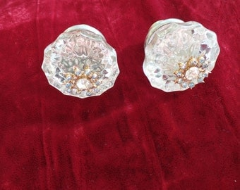 Jeweled embellished vintage glass door knob
