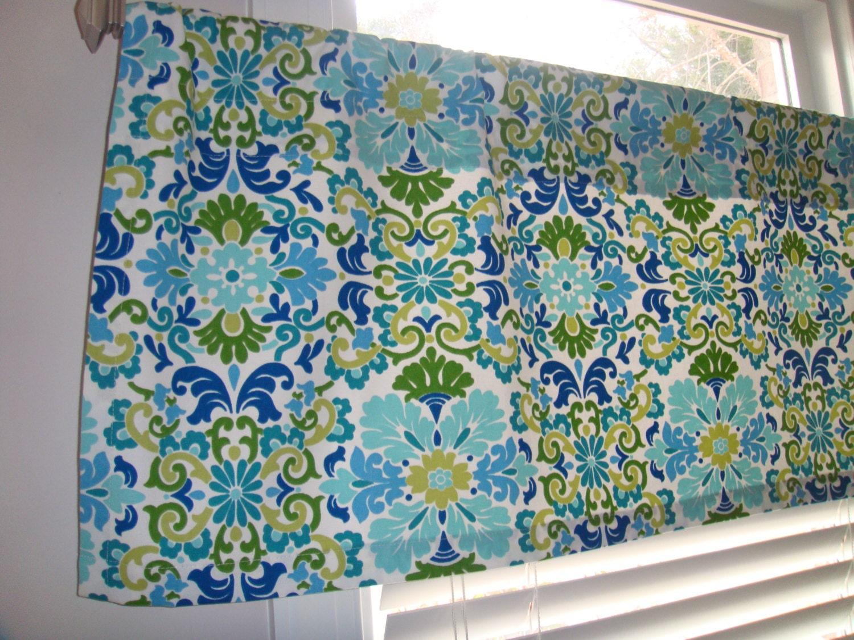 Blue Damask Valance Turquoise Green Ivory Window Treatment