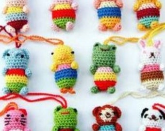 hand knit cell phone key chain;cute!!;frog,kitty,penguin,bunny etc