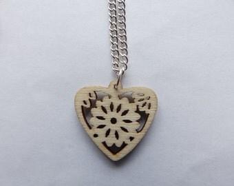 Laser Cut Wooden Heart Pendant