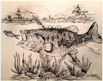 """Bowing for Bass  -- 11"""" x 14"""" Original Pen Drawing"""