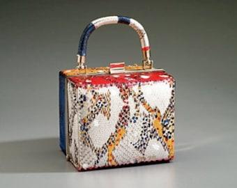 Faux Snake Skin Painted Box Bag