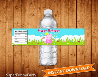 Peppa Pig Water Bottle Labels, INSTANT DOWNLOAD, Digital File