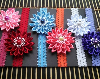 6 Pieces Kanzashi Flower Headband Gift set for Baby girl.