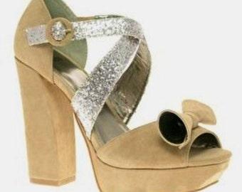 Tall beige suede platform pumps heels asos 6-7 size bow