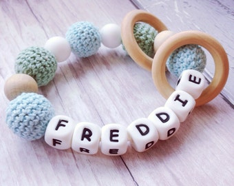 Personalised keepsake teething rattle teether