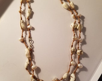 Freshwater Pearl and Stone Wrap-Around Necklace