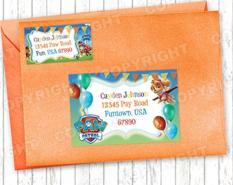 10 Paw Patrol Pawesome Birthday Party GUEST Address Labels for your Invitation Envelopes