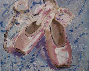 Original acrylic painting,ballet shoes,ballet art,12x12,square,small,pointe shoes,girls nursery wall art,baby girl nursery wall art