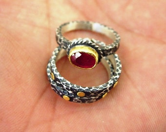 24k pure gold & Hand Made  Hammered Stack Silver Ring  Ruby