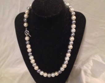 Grey and white faux pearl necklace