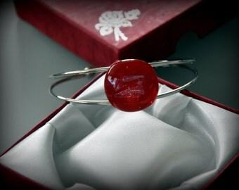 Dichroic Glass-jewel-adjustable bracelet-Red