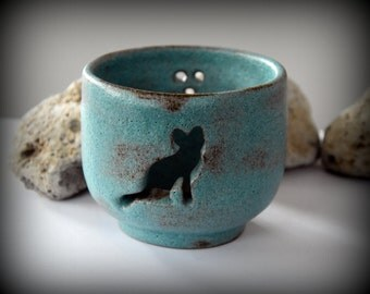 Ceramic tealight cut out PAL/cat-stoneware