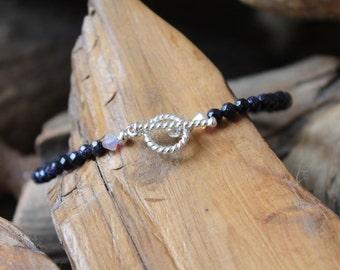 Blue Goldstone and Swarovski bracelet with Sterling Silver Clasp