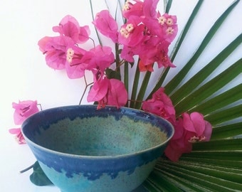 turquoise, blue, handmade pottery, clay bowl for soup, salad, decoration