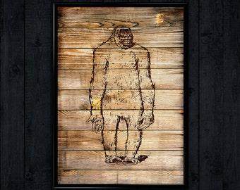 Snowman Print, Gorilla Illustration, Monkey Art decor, Wall Hanging WP069