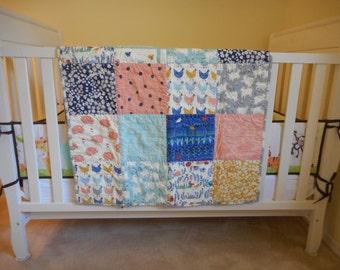 Handmade, Organic Baby Quilt, Homestead Motifs, Gender Neutral, Boy, Girl