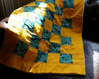 yellow and green hedgehog patchwork, super soft fully lined baby quilt