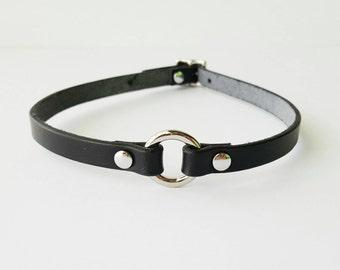 Mini O-Ring Leather Choker // Black Leather Choker // Brown Leather Choker // Leather Necklace // High Quality Leather