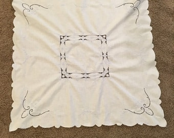 Pale Blue Vintage Embroidered Tablecloth