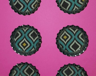 Teal Pattern Bottle Cap Magnets