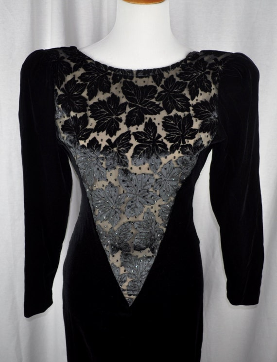 Vintage 1980s Black Velvet and Black Velvet Lace Niki Dress Sz 8