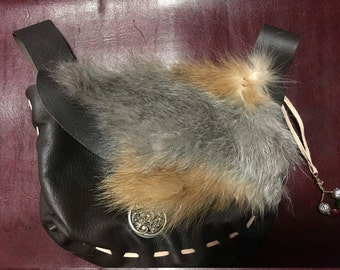 Leather and fox fur medieval belt pouch with HM Trinket