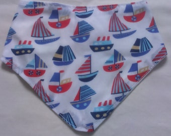 Baby bandana dribble bibs with boats.