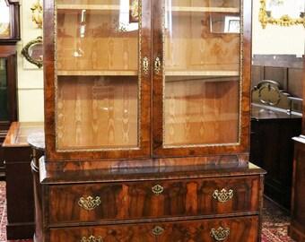 Early 1780 Restore George III English Circassian Walnut Secretary Desk Bookcase