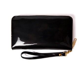 Black patent wallet