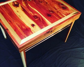 Mid-Century Modern Coffee Table. Cedar/Poplar/Copper