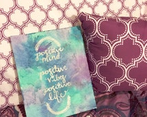 Wax Tie Dye Wall Art / Melted Crayon Canvas / Positive Life Quote