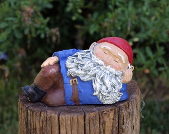 Gnomes, Relaxing Garden Gnome, Concrete Cement Gnome, Home and Yard Decor, Traditional Gnome, Gnomes for Garden,  Gnome Garden Decor,