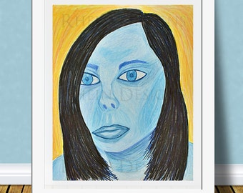 Blue Girl Colored Pencil Print