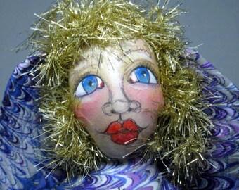Swirls Art Doll Fairy Faery OOAK Cloth Art Doll Purple Swirl Fabric, Fabric Figure Home Decor Display