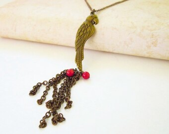 Parrot Tassel Chain Fringe Necklace With Red Coral