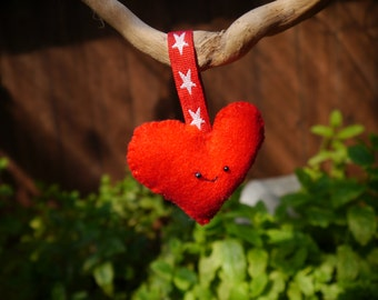 Cute Bright Red Smiling Heart Hanging Ornament Decoration