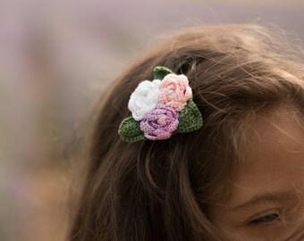 Crochet hair clip, crochet flower, crochet brooch, flower brooch, hair clip, girls hair clip, rose, flower brooch, hair clip brooch