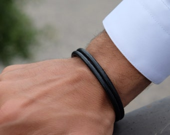 Double strand leather bracelet made in italy unisex male female customizable steel