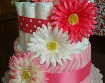 Baby Girl Flower Diaper Cake
