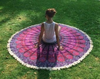 Pink Boho Roundie - Beach and Picnic Blanket