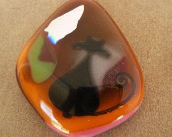 HARVEST CAT  Fused Glass Pendant