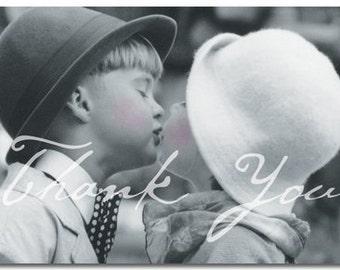 Little Kids Kissing Wedding, Engagement, Anniversary or General Nostalgic Thank You Cards - Pkg 50