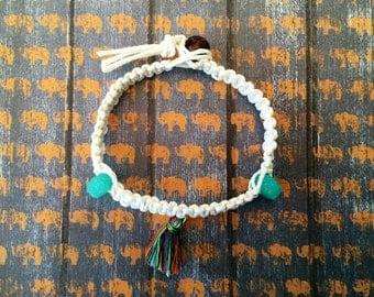 White hemp tassel bracelet