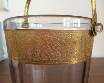 Vintage Glass Ice Bucket with Gold Detail