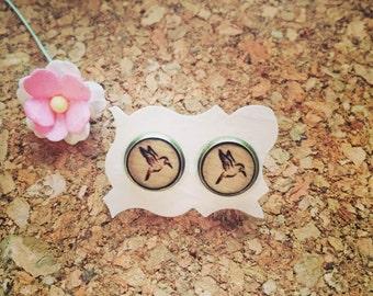 Hummingbird earrings in wood type, liberty, hummingbird, bird, flying, bird, paradise