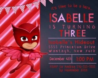 Owlette Invitation, FREE Thank You Card File, PJ Masks Invitation, pj masks birthday, pj masks party, pj masks invite, digital