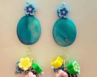 Turquoise Blue Cluster Earrings