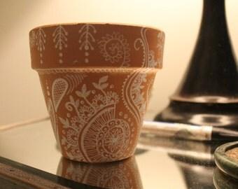 Terra-cotta Pot with Henna Design